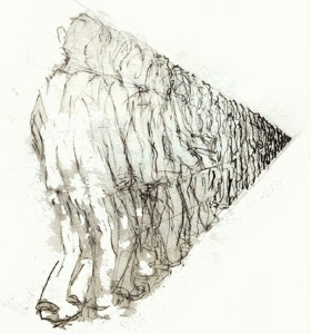 Movement Drawing 02; a figure moving away from me in a space.