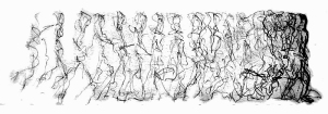 Movement Drawing 01; a figure recorded moving across a space.